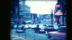 Stock Video Footage of vintage 8mm film, Ottawa Rideau Street looking east, early 1960s