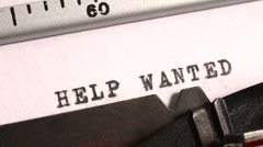 Typing Help Wanted on an old manual typewriter Stock Footage