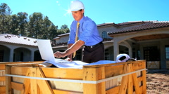 Architect on Site with Laptop Stock Footage