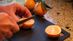 Oranges cutting fruit Stock Footage