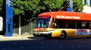 Hybrid Bus In Downtown Long Beach 1 Stock Footage