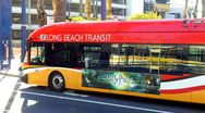 Stock Video Footage of Hybrid Bus In Downtown Long Beach 2
