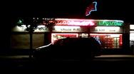 Liquor Store At Night 1 Stock Footage