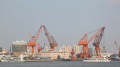 Stock Video Footage of Cranes at Industrial Port