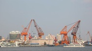 Cranes at Industrial Port Stock Footage