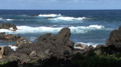 Hawaii Jagged lava and waves  Stock Footage