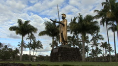 Hawaii Kamehameha statue in park Stock Footage