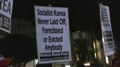 Korean War Demonstration - Socialist Korea Stock Footage