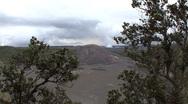 Hawaii Kilauea Iki Crater and trees view Stock Footage