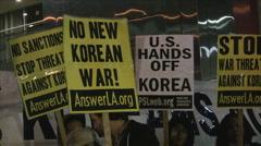 Korean War Demonstration - Signs Stock Footage