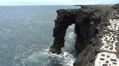 Hawaii Lava sea arch Kilauea Stock Footage