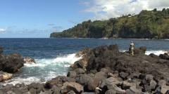 Hawaii people and waves Laupahoehoe  2 Stock Footage