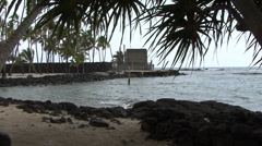 Hawaii Place of Refuge zooms in Stock Footage