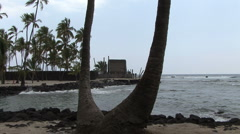 Hawaii Place of Refuge with child 3 Stock Footage