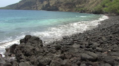 Rock beach at Kealakehua Bay Hawaii Stock Footage