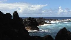 Hawaii rocks waves Laupahoehoe Point   Stock Footage