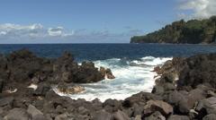 Hawaii rocks and waves Luapahoehoe Point 3 Stock Footage