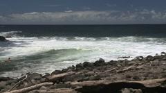 Surfer follows river to sea at Kolekole   Stock Footage