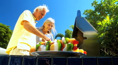 Stock Video Footage of Seniors Healthy Eating Barbeque