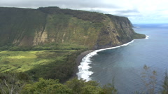 Waipi'o Valley cliffs and beach in Hawaii Stock Footage