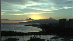 Honolulu evening sunset with clouds Stock Footage
