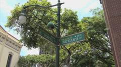 Honolulu Chinatown street signs Stock Footage