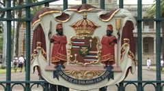 Honolulu coat of arms and palace  Stock Footage