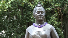 Queen Liliuokalani statue  Stock Footage