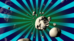 Retro Skulls Looping Animated Background VTwo - stock footage