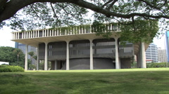 Honolulu Tree branch over Hawaii state capitol  2 Stock Footage