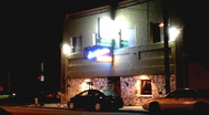 Stock Video Footage of Tavern At Night Exterior