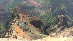 Colorful rocks overlook a Kauai canyon Stock Footage