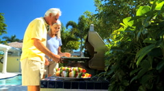 Seniors Cooking Healthy Food - stock footage
