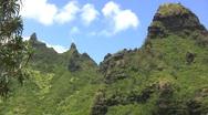 Shadow on jagged peak in Kauai Stock Footage