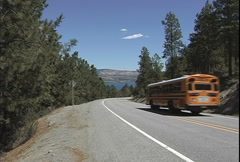 Lake Chelan yellow school bus WA  Stock Footage