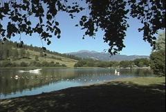 Lake with boat eastern Washington - stock footage