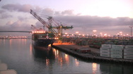 Los Angeles port cargo ship at dock  Stock Footage