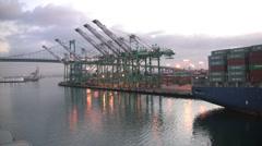 Los Angeles port loading docks  - stock footage