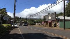 Maui Haiku town main street Stock Footage