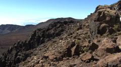 Maui jumbled lava Haleakala crater  - stock footage