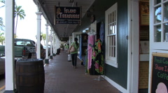 Maui Lahaina Arcade with clothing  Stock Footage