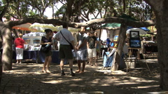 Art show in a Lahaina park  Stock Footage