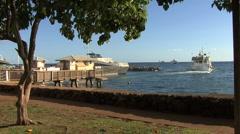 Maui Lahaina Excusion boat heads to sea 2 Stock Footage