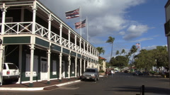 Lahaina Historic hotel with flags  Stock Footage
