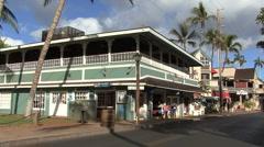 Maui Lahaina a building and a street Stock Footage