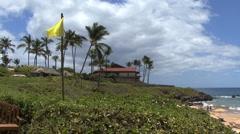 Maui Lahaina Yellow flag South Maui 2 Stock Footage