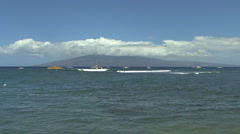 Lanai in distance seen from Maui Stock Footage