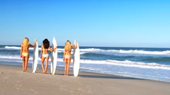 Girlfriends with Surfboards Stock Footage