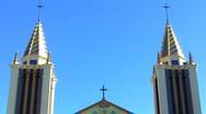 Ornate Catholic Church Steeples- St. Anthony's- Long Beach, CA Stock Footage
