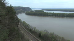 Mississippi palisades with train track Stock Footage